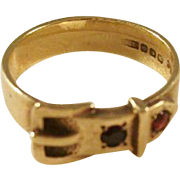 Lovely Victorian Style 9ct gold buckle ring with Garnets - size 8 - a beauty!