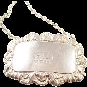 Vintage Sterling Silver Decanter Label - GIN