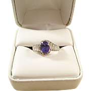 Gorgeous Vintage Tanzanite 14kt White Gold and Diamond Ring - Estate Piece - Size 7