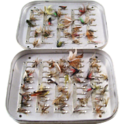 Vintage Hardy Brothers Aluminum Fly Fishing Lure Box with many Flies - English
