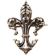 Lovely Fleur di Lis Sterling Brooch - Victorian