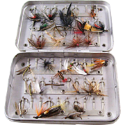 Vintage Aluminum Fly Fishing Lure Box with many Hand Tied Flies - English