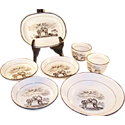 Rare Regency 1817 BW Transferware Dish Set - Mourning - Death of Princess Charlotte - 6 pieces