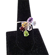 Vintage Waterfall Cocktail Ring - Garnet, Peridot, Citrine, Amethyst, Topaz - size 8.5