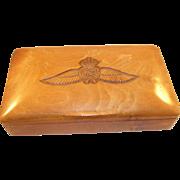 Handsome Royal Air Force Carved Cigarette Trinket Box