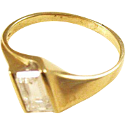 Vintage Modernist 14kt Gold Ring with CZ - size 9