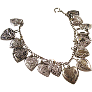 Vintage Sterling Puffy Heart Bracelet - 15 Charms - Estate find!