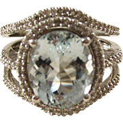Stunning Vintage 14kt White Gold Aquamarine and Diamond Cocktail Ring - Size 7