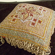 Large Victorian Glass Beaded Hatpin Cushion or Pincushion