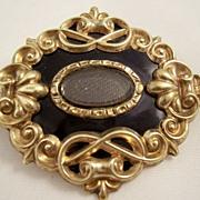 Victorian Mourning Brooch - 12 carat gold & Black Enamel - Hair Work