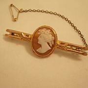 Lovely Edwardian 9 carat gold Cameo Bar Pin - different!