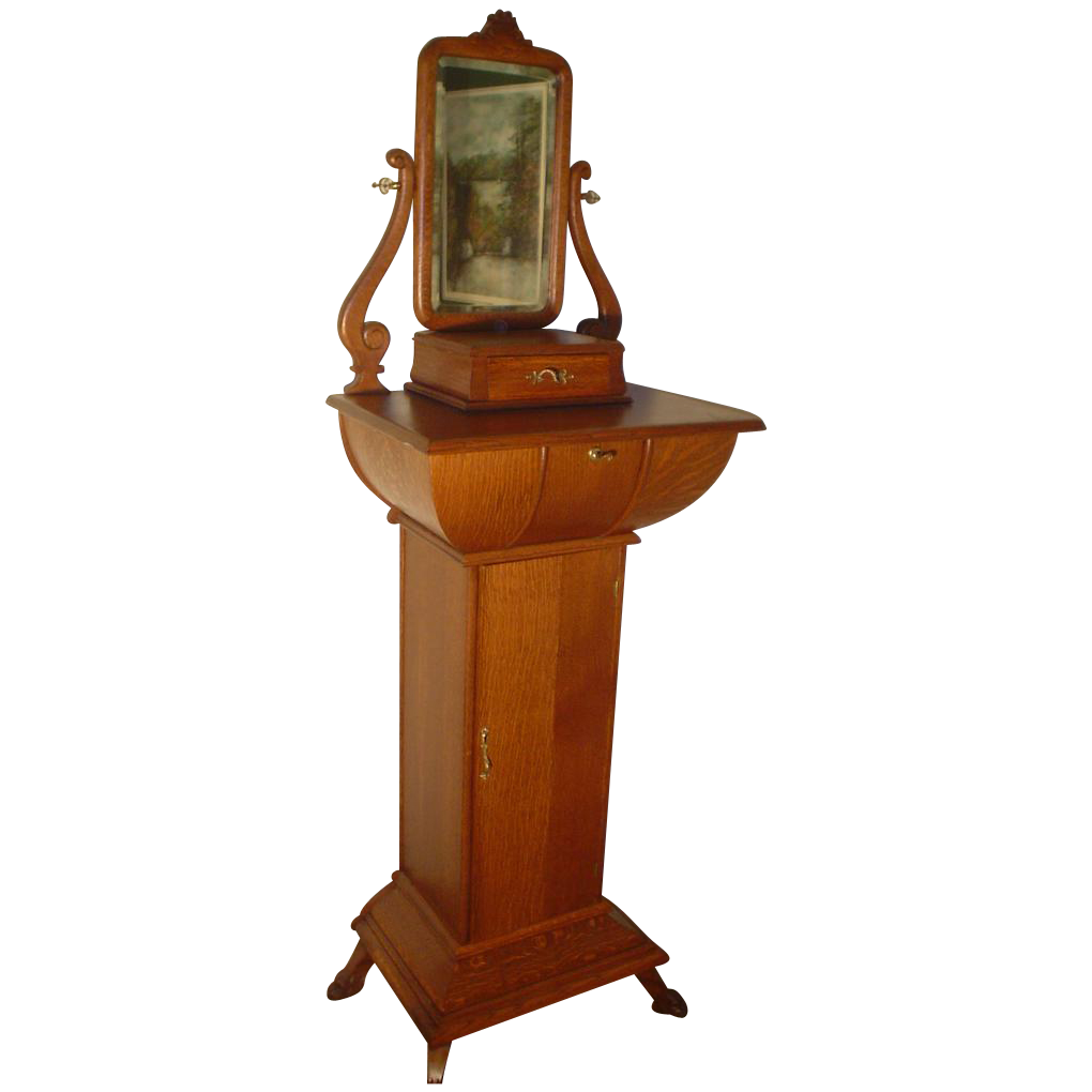 Monumental Quartersawn Oak Shaving Cabinet