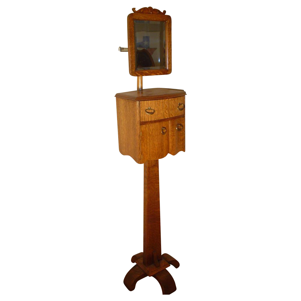 Quartersawn Oak Swing Mirror Shaving Stand