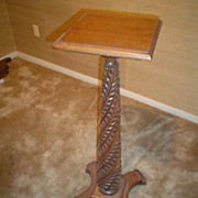 Quartersawn Oak Spiral Carved Plant Stand