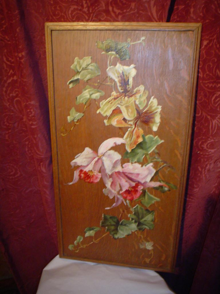 Oil on Oak Board Floral Oil Painting