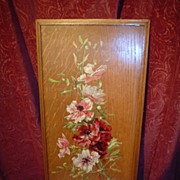 Lovely Floral Painting on Quartersawn Oak Board