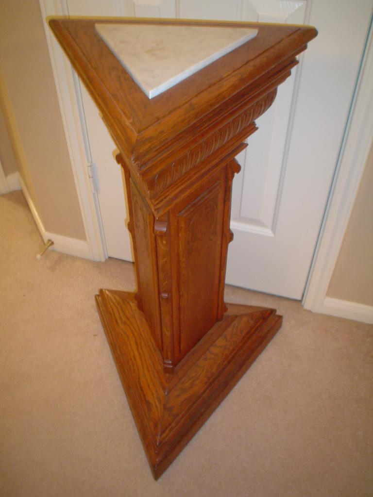 Triangular Oak Marble Top Plant Stand