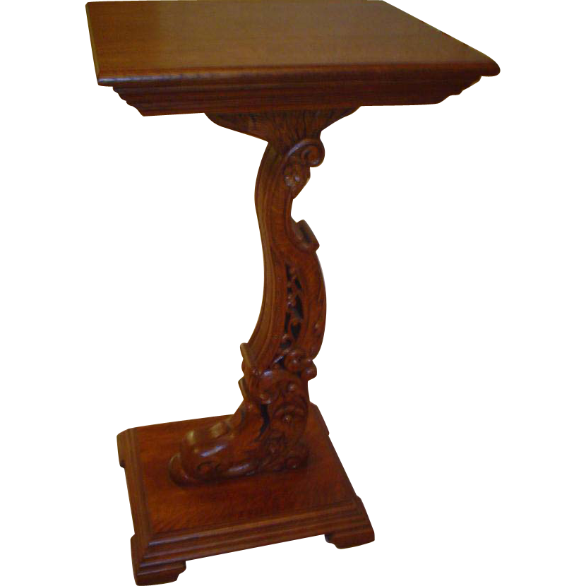 Quartersawn Oak Dolphin Carved Stand
