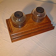 Sengbusch Inkwells with Quartersawn Oak Holder