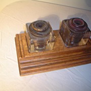 Quartersawn Oak Sengbusch Inkwell set