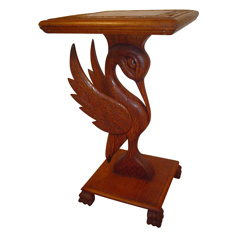 Great  Carved Stork Oak Plant Stand.