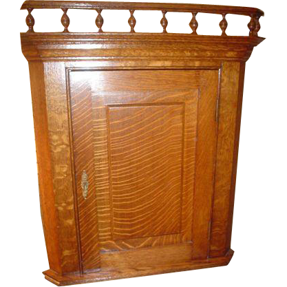 Quartersawn Oak Corner Medicine Cabinet.