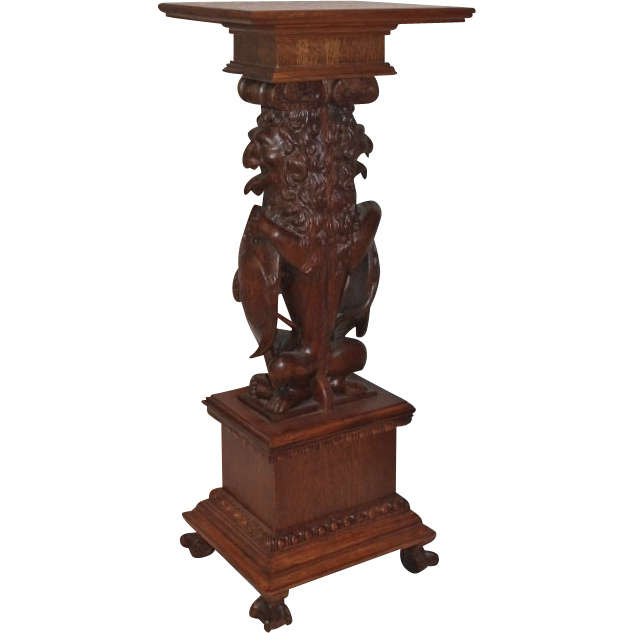 Highly Carved Oak Lion Plant Stand