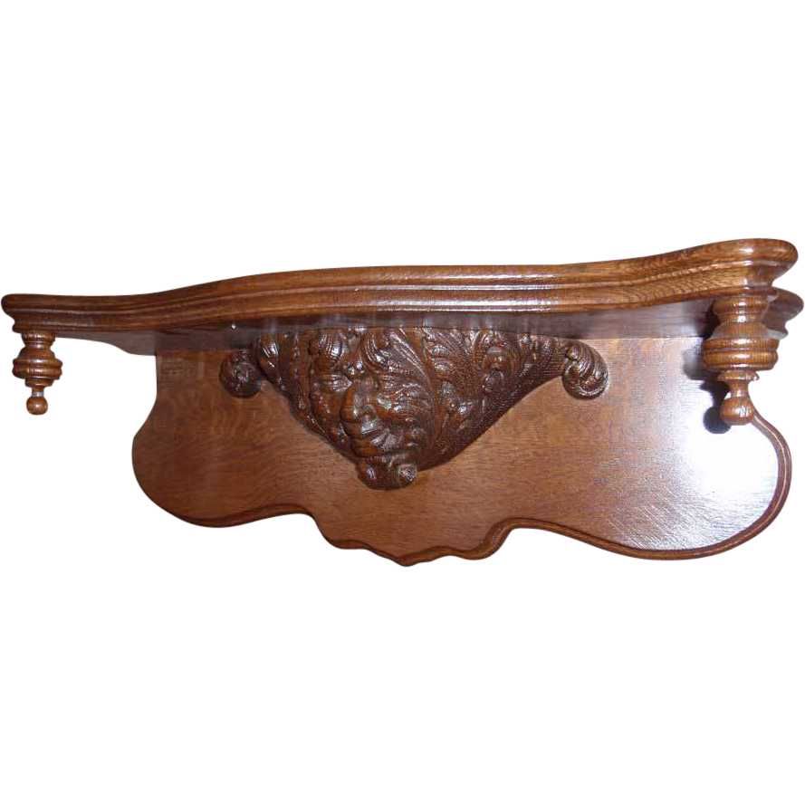 Figural Carved American Oak Clock Shelf