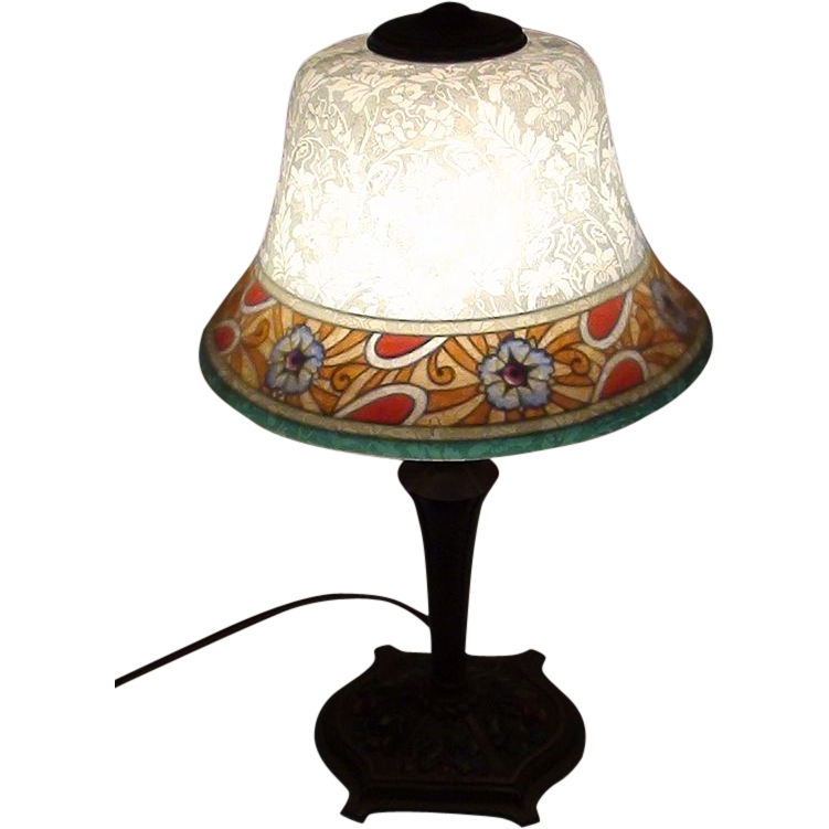 Wonderful Etched and Reverse Painted Bellova Boudoir Lamp