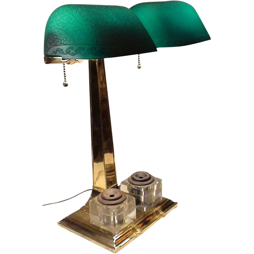 Very Rare Emeralite Partners Lamp with Etched Shades and Ink Wells.