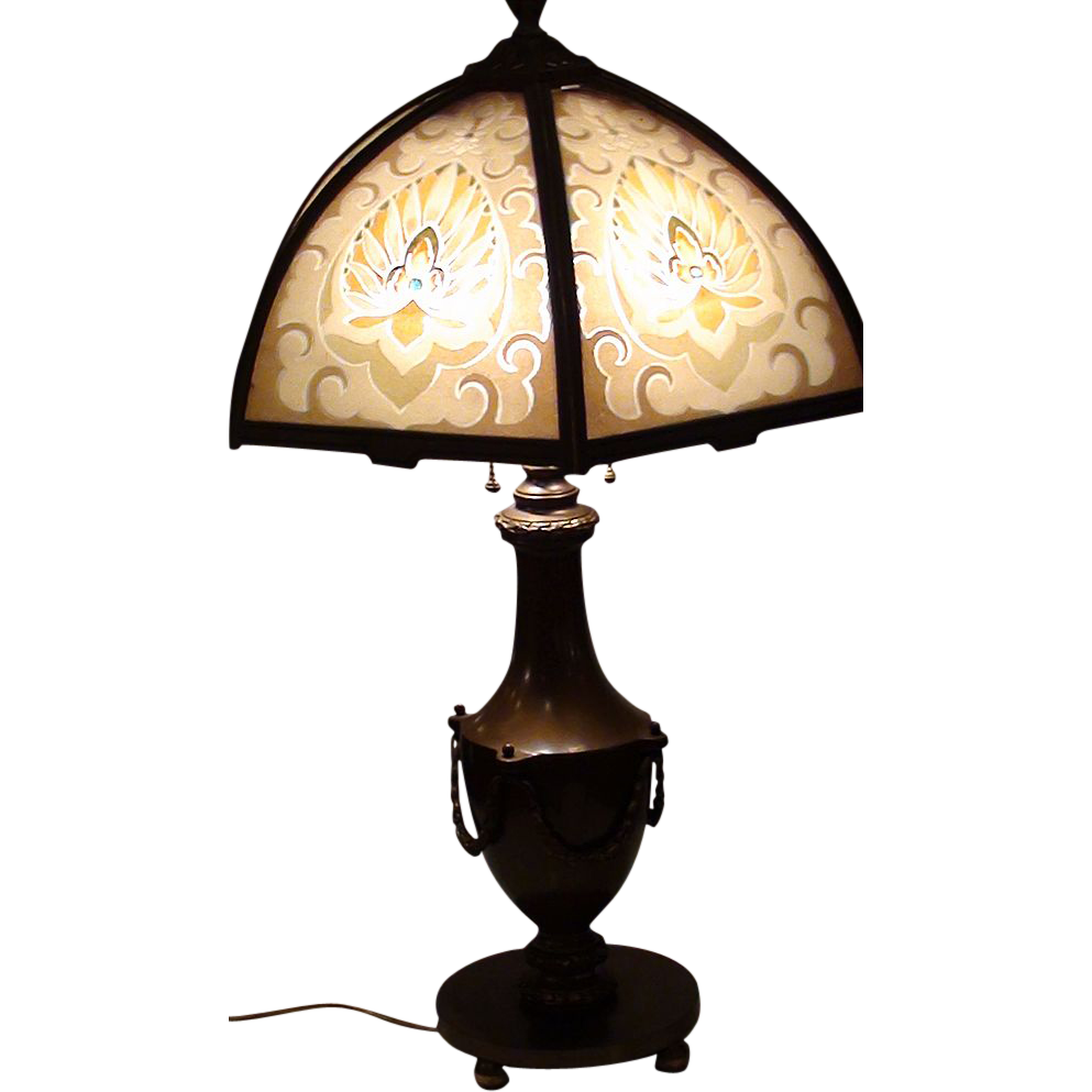Bradley & Hubbard Reverse Painted  Slag Glass  Lamp