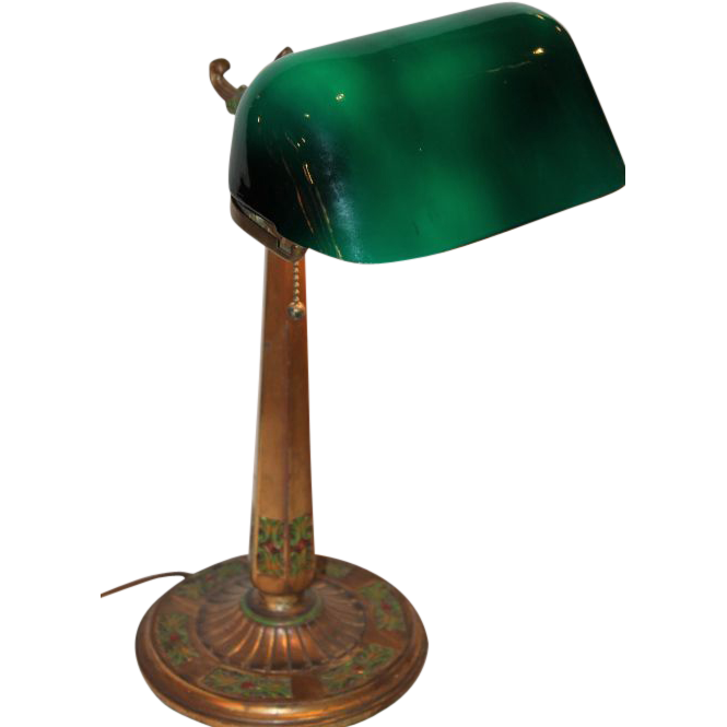 Emeralite Desk Lamp with Rare Fancy Base from bandcantiques on ...