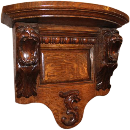 Oak Lion Carved Clock Shelf