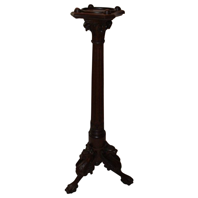 Outrageous Carved Winged Griffin Oak Candle Stand