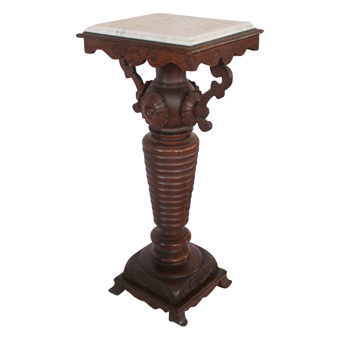 Fancy, Heavy, Turned and Carved Oak Plant Stand