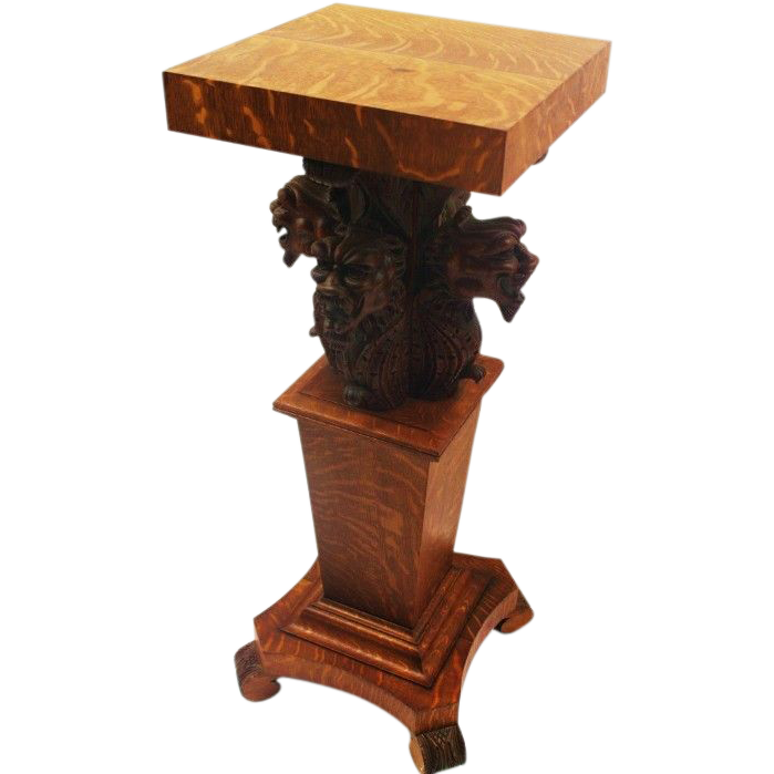 Large Carved Oak Lion Plant Stand