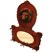 Large Lion Carved Oak Hanging Mirror/Hatrack