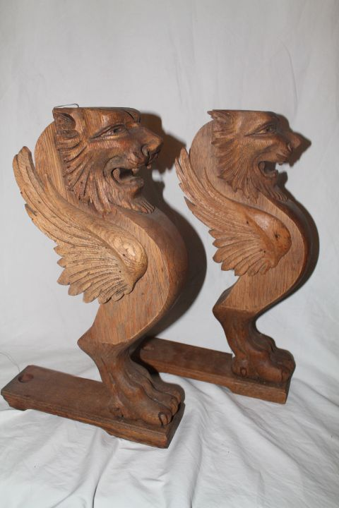 Pair of Carved Oak Winged Lions