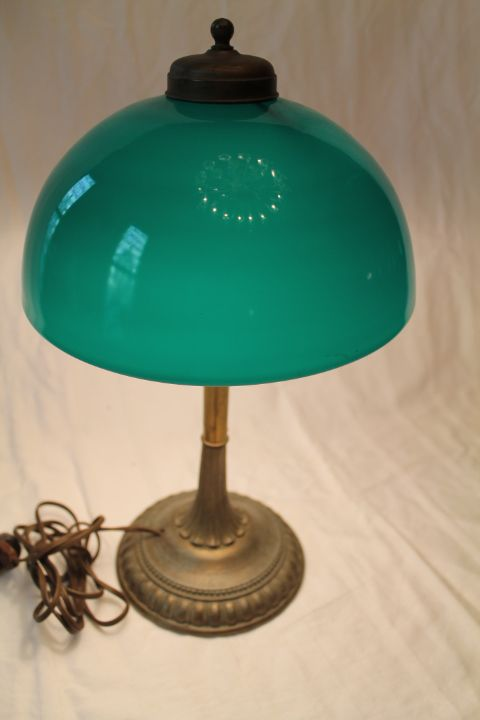 Emeralite Dome Shade Table Lamp from bandcantiques on Ruby Lane