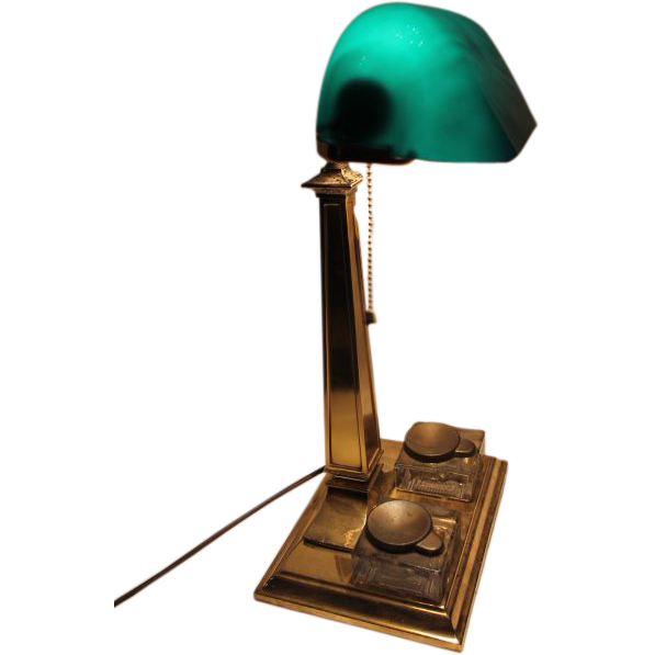 Emeralite Desk Lamp with Ink Wells from bandcantiques on Ruby Lane