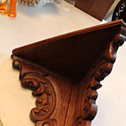 Lion Carved Oak Corner Shelf