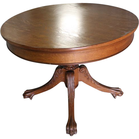 Fancy Oak Claw Foot Breakfast/ Game Table : B And C Victorian Antiques |  Ruby Lane