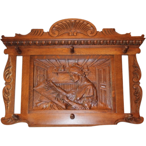 Large R.J.Horner Carved Oak Wall Mounted Hat/Coat Rack