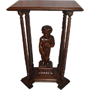 Quartersawn Cherub Carved Oak Clock Stand