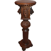 Great Lion Carved Oak Pedestal