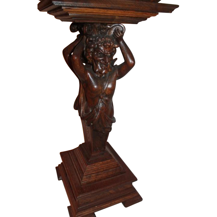 Quartersawn Oak Man of the Mountain Plant Stand