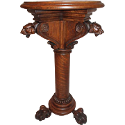 Wonderful Quartersawn Oak Lion Carved Plant Stand