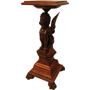Extraordinary Oak Winged Lion Pedestal