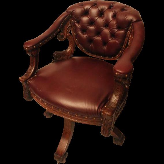1890u0027s Extraordinary Antique Dolphin Carved Oak Swivel Desk Chair.