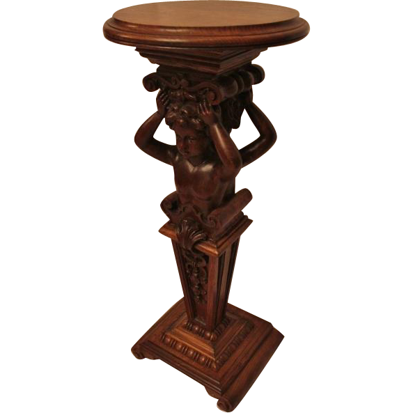 Oak Cherub Carved Plant Stand.